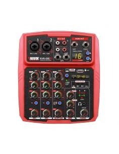 Mixer Consola Novik Nvk-i06bt Red 6 Canales Usb Rec & Play