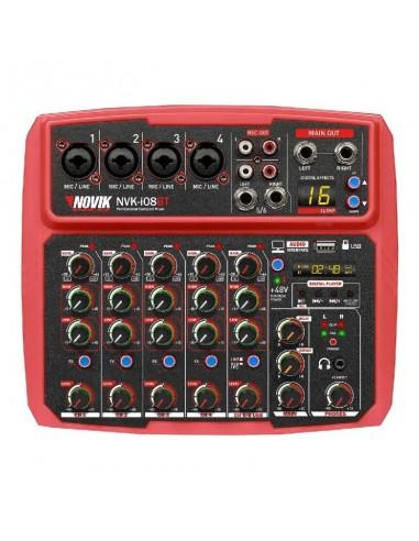 Mixer Consola Novik Nvk-i08bt Red 8 Canales Usb Rec & Play